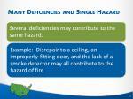 many deficiencies and single hazard