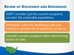 review of occupants and deficiencies