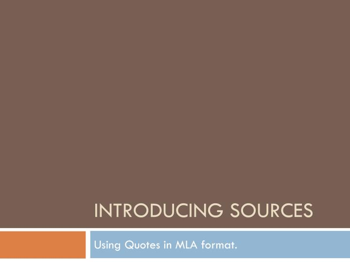 introducing sources n.