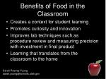 benefits of food in the classroom