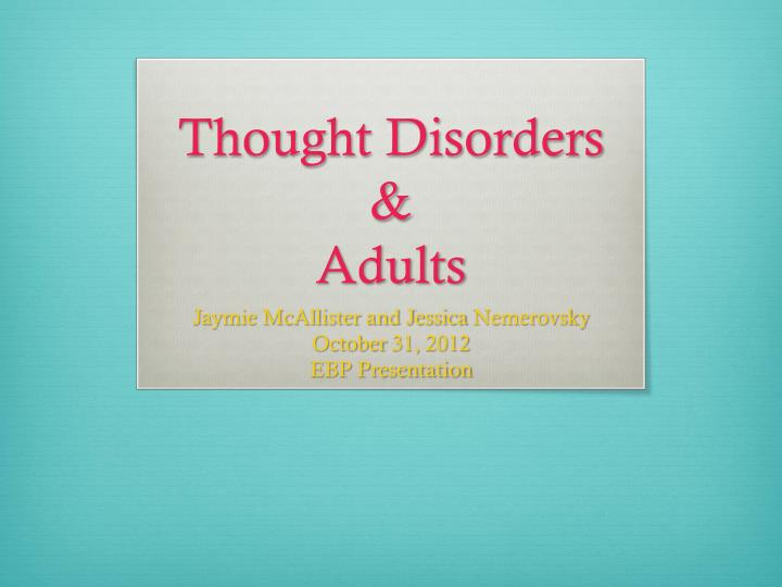 thought disorders adults n.