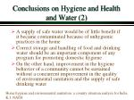 conclusions on hygiene and health and water 2