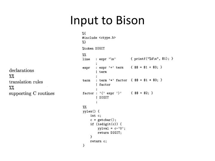 Input to bison
