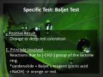 specific test baljet test1