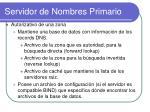 servidor de nombres primario