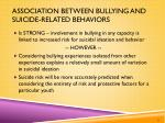 association between bullying and suicide related behaviors
