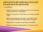 association between bullying and suicide related behaviors1