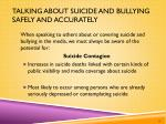 talking about suicide and bullying safely and accurately