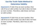 use the truth table method to determine validity