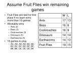 assume fruit flies win remaining games