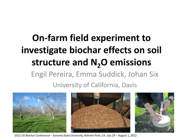 on farm field experiment to investigate biochar effects on soil structure and n 2 o emissions n.