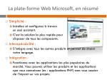 la plate forme web microsoft en r sum