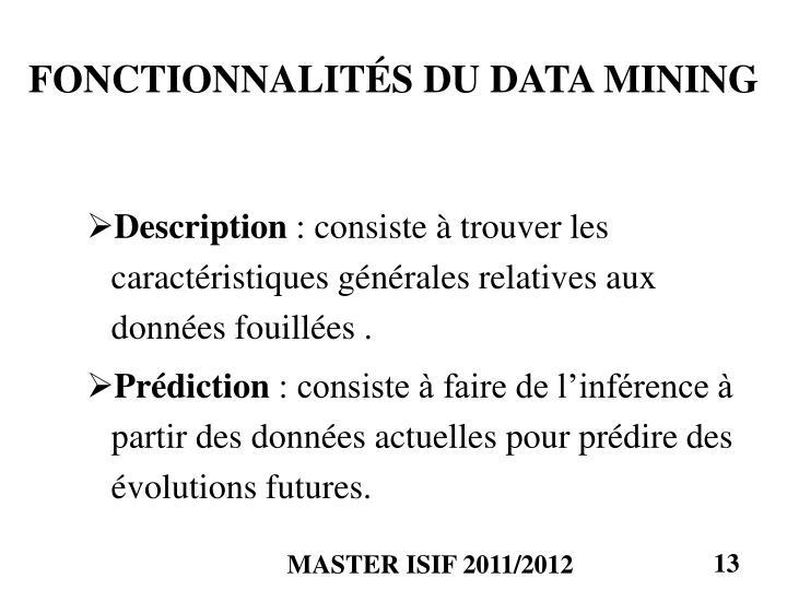 FONCTIONNALITÉS DU DATA MINING