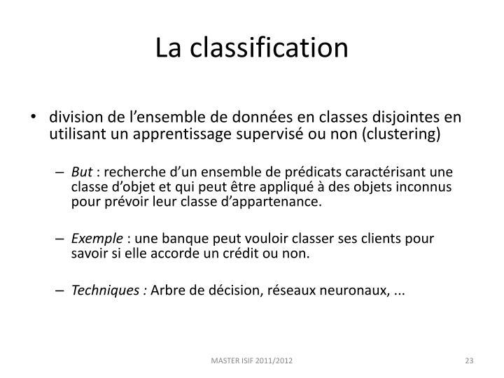 La classification