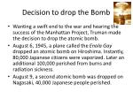 decision to drop the bomb
