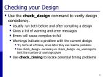 checking your design