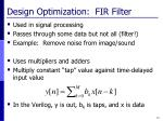 design optimization fir filter