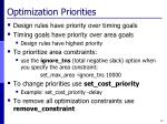 optimization priorities
