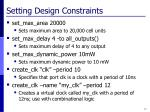 setting design constraints