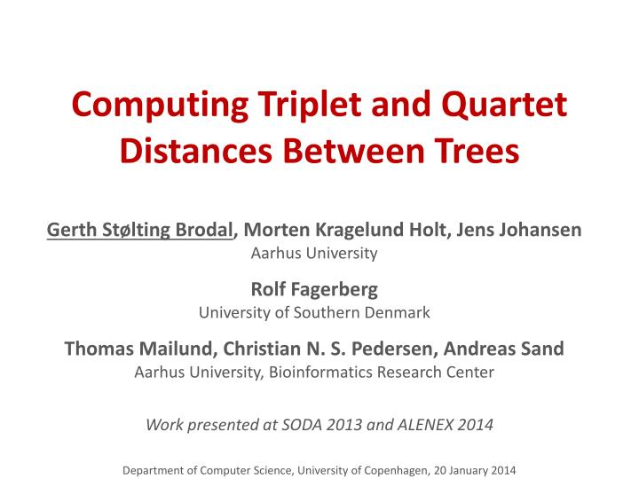 computing triplet and quartet distances between trees n.