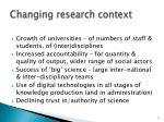 changing research context