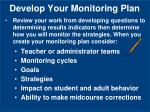 develop your monitoring plan