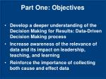 part one objectives