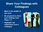 share your findings with colleagues