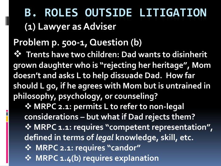 1 lawyer as adviser n.