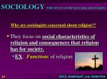 why are sociologists concerned about religion