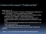 criticism of the lawyer s traditional role