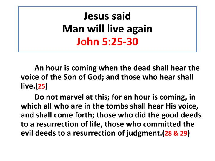 An hour is coming when the dead shall hear the voice of the Son of God; and those who hear shall liv...