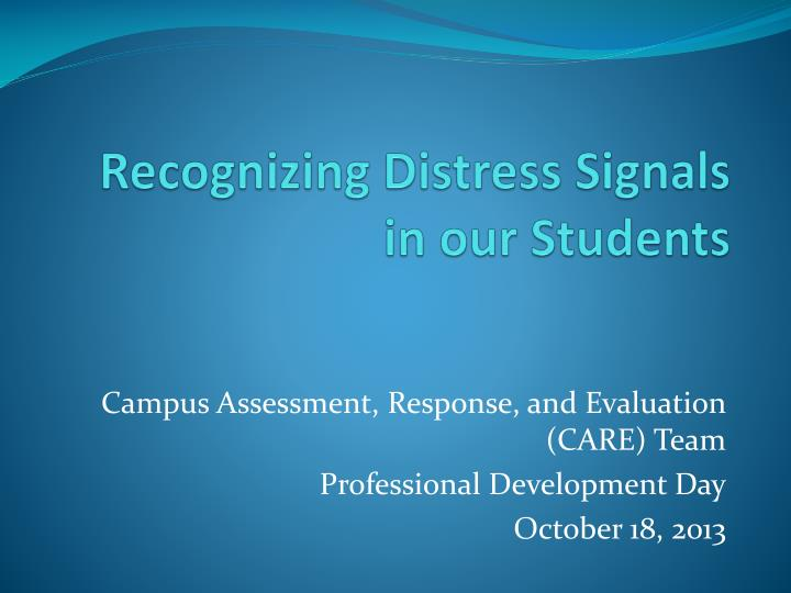 recognizing distress signals in our students n.
