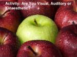 activity are you visual auditory or kinaesthetic