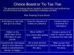 choice board or tic tac toe