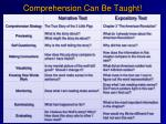 comprehension can be taught
