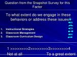 question from the snapshot survey for this factor