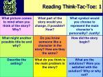 reading think tac toe 1