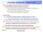 precision needed ii ewsb tests