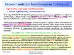 recommendation from european strategy 1