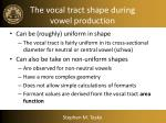 the vocal tract shape during vowel production