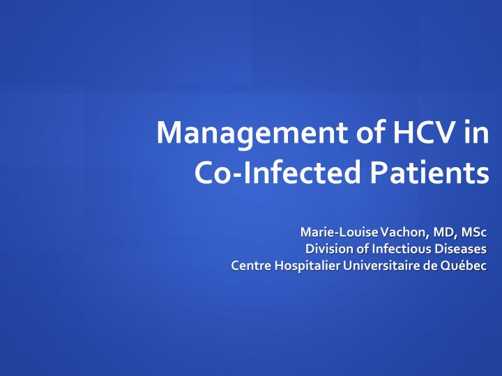 management of hcv in co infected patients n.