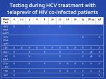 testing during hcv treatment with telaprevir of hiv co infected patients