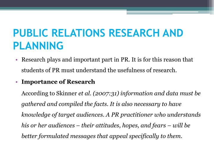 public relations research and planning n.