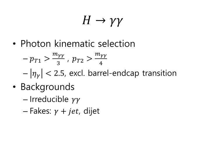 Photon kinematic selection