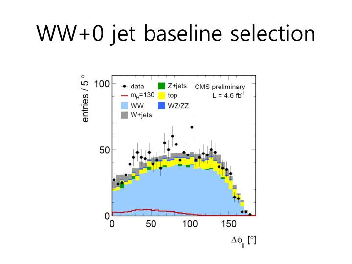 WW+0 jet baseline selection