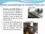 some countertops to choose from are