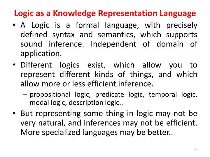 Logic as a Knowledge Representation Language