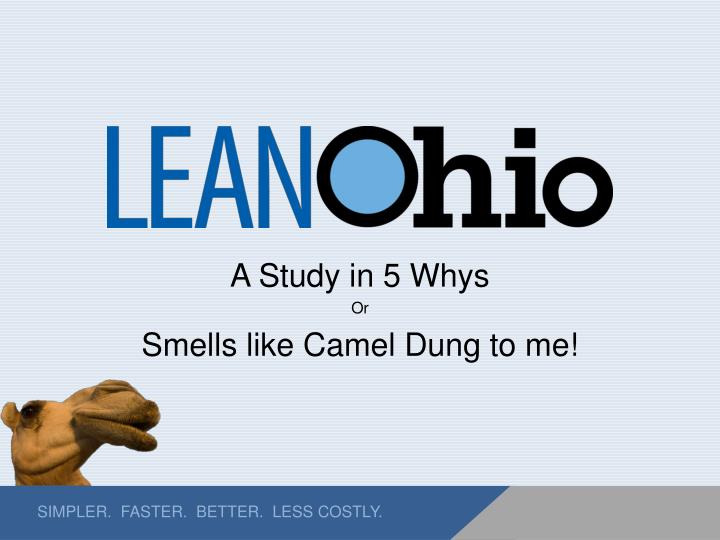 a study in 5 whys or smells like camel dung to me n.