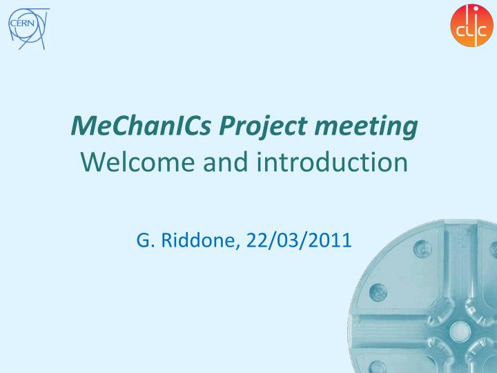 mechanics project meeting welcome and introduction n.